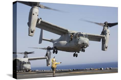 An MV-22 Osprey Takes Off from the Amphibious Assault Ship USS Kearsarge--Stretched Canvas Print