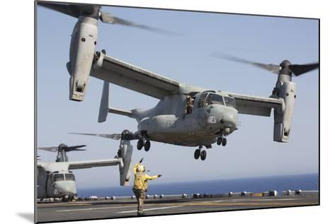 An MV-22 Osprey Takes Off from the Amphibious Assault Ship USS Kearsarge--Mounted Photographic Print