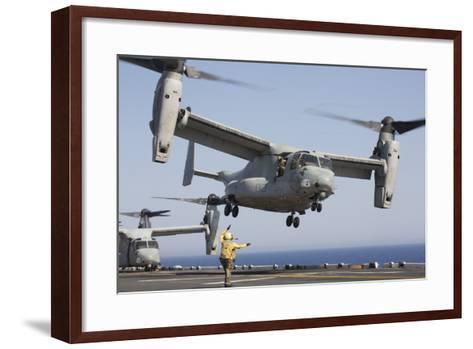 An MV-22 Osprey Takes Off from the Amphibious Assault Ship USS Kearsarge--Framed Art Print