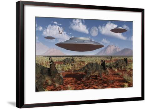 A Herd of Centrosaurus Dinosaurs Walk Past a Group of UFO'S--Framed Art Print