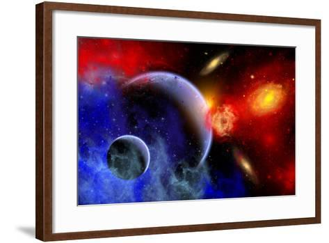 A Mixture of Colorful Stars, Planets, Nebulae and Galaxies--Framed Art Print