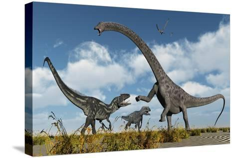 A Pair of Allosaurus Dinosaurs Confront a Giant Diplodocus--Stretched Canvas Print