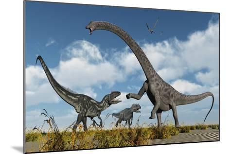 A Pair of Allosaurus Dinosaurs Confront a Giant Diplodocus--Mounted Art Print