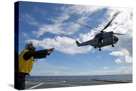 A French Armee De Terre Sa 380 Puma Helicopter Taking Off--Stretched Canvas Print