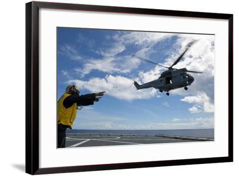 A French Armee De Terre Sa 380 Puma Helicopter Taking Off--Framed Art Print