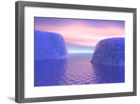 Two Icebergs Face to Face in the Ocean with Pink and Violet Sunrise--Framed Art Print