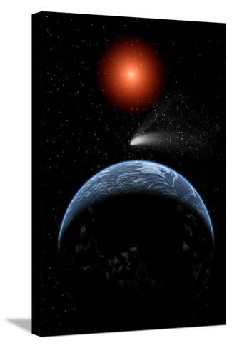 A Comet Passing the Earth on its Return Journey from around the Sun--Stretched Canvas Print
