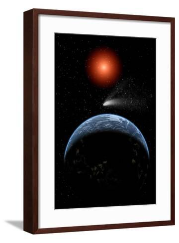 A Comet Passing the Earth on its Return Journey from around the Sun--Framed Art Print