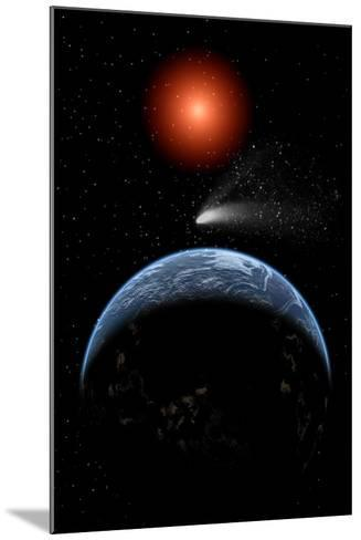 A Comet Passing the Earth on its Return Journey from around the Sun--Mounted Art Print