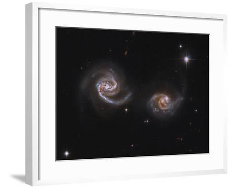 A Pair of Interacting Spiral Galaxies with Swirling Arms--Framed Art Print