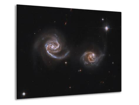 A Pair of Interacting Spiral Galaxies with Swirling Arms--Metal Print