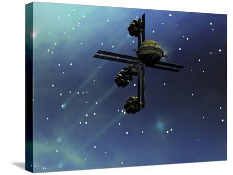 A Starship from Earth with Ion Drive Propulsion Explores the Cosmos--Stretched Canvas Print