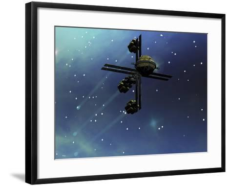 A Starship from Earth with Ion Drive Propulsion Explores the Cosmos--Framed Art Print