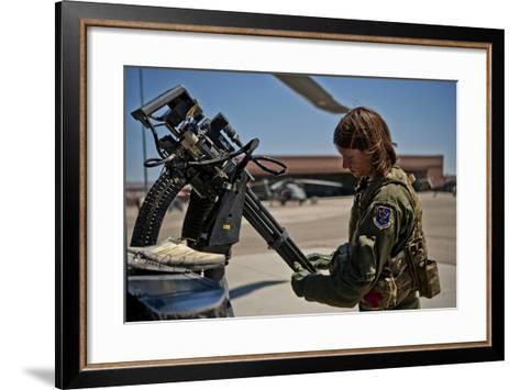 Airman Examines the Barrels of a Gau-2 Mini Gun on an Hh-60 Pave Hawk--Framed Art Print
