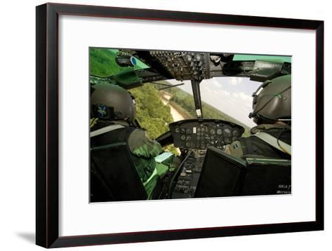 Two Instructor Pilots Practice Low Flying Operations in a Uh-1H Huey Helicopter--Framed Art Print