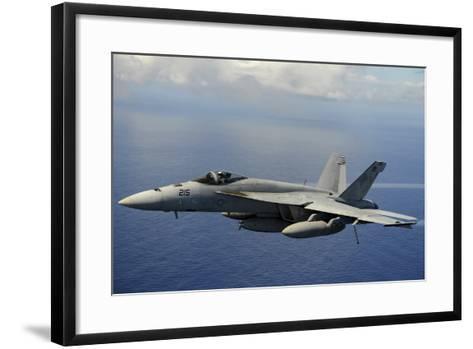 An F-A-18E Super Hornet over the Pacific Ocean--Framed Art Print