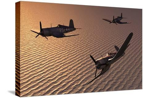 American Vought F4U Corsair Aircraft in Flight During World War Ii--Stretched Canvas Print