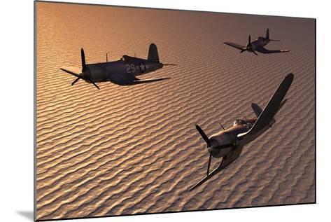American Vought F4U Corsair Aircraft in Flight During World War Ii--Mounted Art Print
