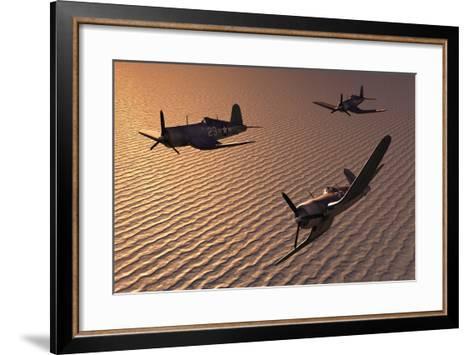American Vought F4U Corsair Aircraft in Flight During World War Ii--Framed Art Print