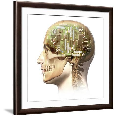 Male Human Head with Skull and Artificial Electronic Circuit Brain--Framed Art Print