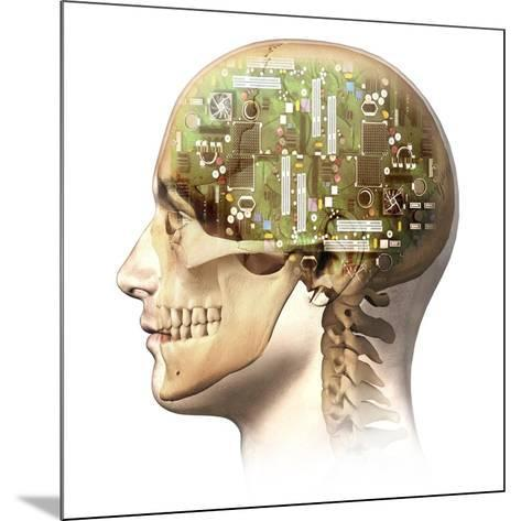Male Human Head with Skull and Artificial Electronic Circuit Brain--Mounted Art Print