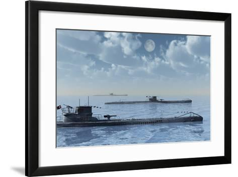 A Wolfpack of German U-Boat Submarines--Framed Art Print