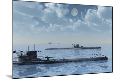A Wolfpack of German U-Boat Submarines--Mounted Art Print