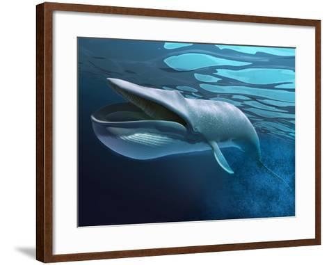 Blue Whale Underwater with Caustics on Surface--Framed Art Print