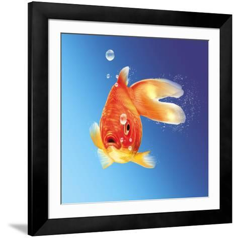 Goldfish with Water Bubbles--Framed Art Print