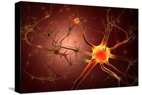 Conceptual Image of Neuron--Stretched Canvas Print
