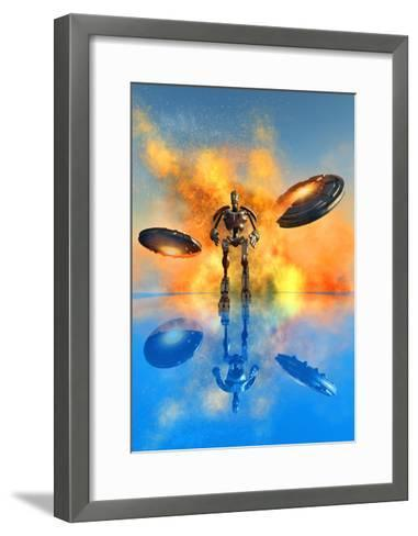 A Giant Robot and Ufo's on the Attack--Framed Art Print