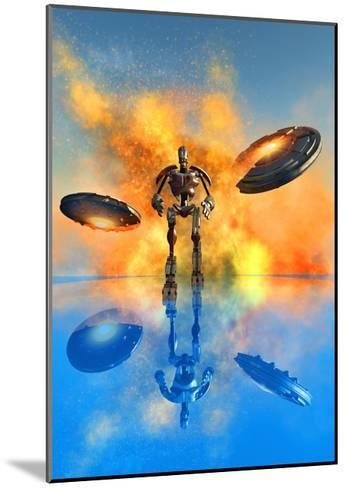 A Giant Robot and Ufo's on the Attack--Mounted Art Print