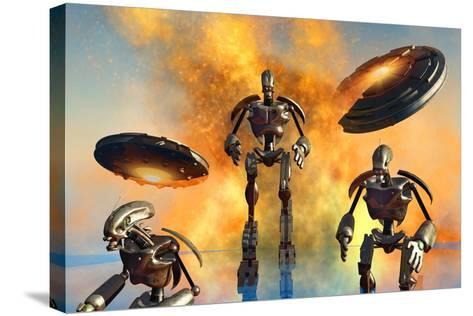 A Giant Robot Force on the Attack--Stretched Canvas Print