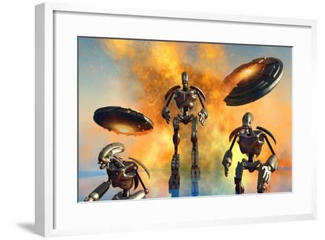 A Giant Robot Force on the Attack--Framed Art Print