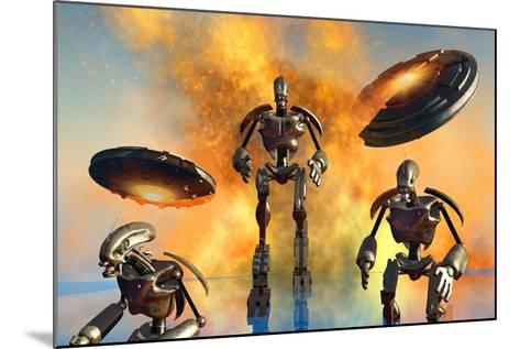 A Giant Robot Force on the Attack--Mounted Art Print