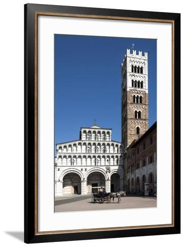 Horse Drawn Carriage Crossing the Piazza San Martino, Lucca, Tuscany, Italy, Europe-James Emmerson-Framed Art Print
