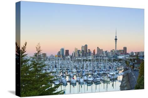 Westhaven Marina and City Skyline Illuminated at Sunset-Doug Pearson-Stretched Canvas Print