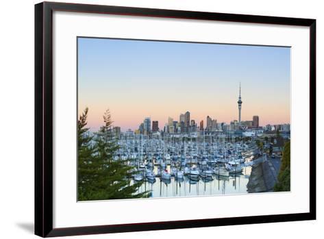 Westhaven Marina and City Skyline Illuminated at Sunset-Doug Pearson-Framed Art Print