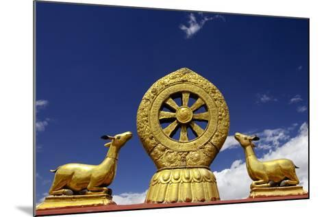 A Golden Dharma Wheel and Deer Sculptures-Simon Montgomery-Mounted Photographic Print