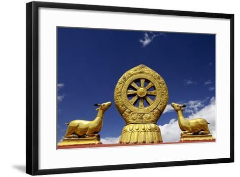 A Golden Dharma Wheel and Deer Sculptures-Simon Montgomery-Framed Art Print