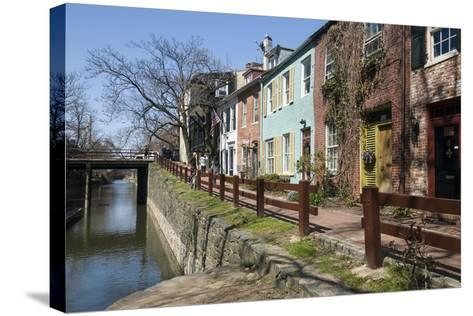 Old Houses Along the C and O Canal-John Woodworth-Stretched Canvas Print