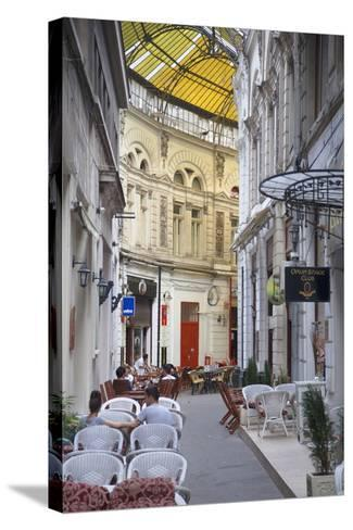 People at Cafes in Macca-Villacrosse Passage, Bucharest, Romania, Europe-Ian Trower-Stretched Canvas Print