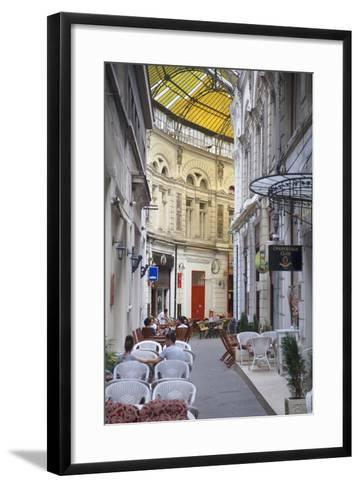 People at Cafes in Macca-Villacrosse Passage, Bucharest, Romania, Europe-Ian Trower-Framed Art Print