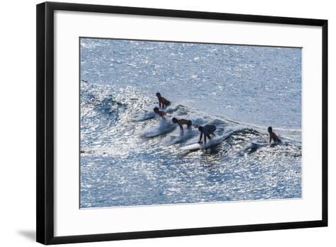 Surfers at the Hookipa Beach Park, Paai, Maui, Hawaii, United States of America, Pacific-Michael Runkel-Framed Art Print