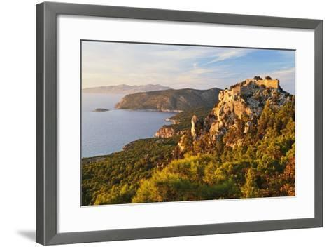 Monolithos Castle and Aegean Sea, Rhodes, Dodecanese, Greek Islands, Greece, Europe-Jochen Schlenker-Framed Art Print