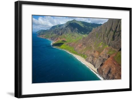 Aerial of the Rugged Napali Coast, Kauai, Hawaii, United States of America, Pacific-Michael Runkel-Framed Art Print