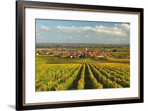 Vineyard Landscape and Maikammer Village, German Wine Route, Rhineland-Palatinate, Germany, Europe-Jochen Schlenker-Framed Art Print