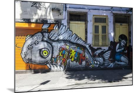 Graffiti Art Work on Houses in Lapa, Rio De Janeiro, Brazil, South America-Michael Runkel-Mounted Photographic Print
