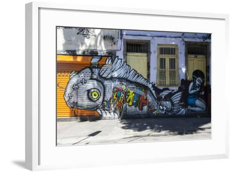 Graffiti Art Work on Houses in Lapa, Rio De Janeiro, Brazil, South America-Michael Runkel-Framed Art Print