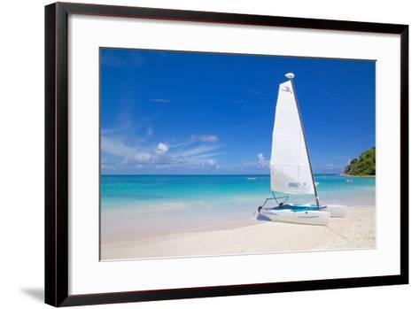 Beach and Hobie Cat, Long Bay, Antigua, Leeward Islands, West Indies, Caribbean, Central America-Frank Fell-Framed Art Print